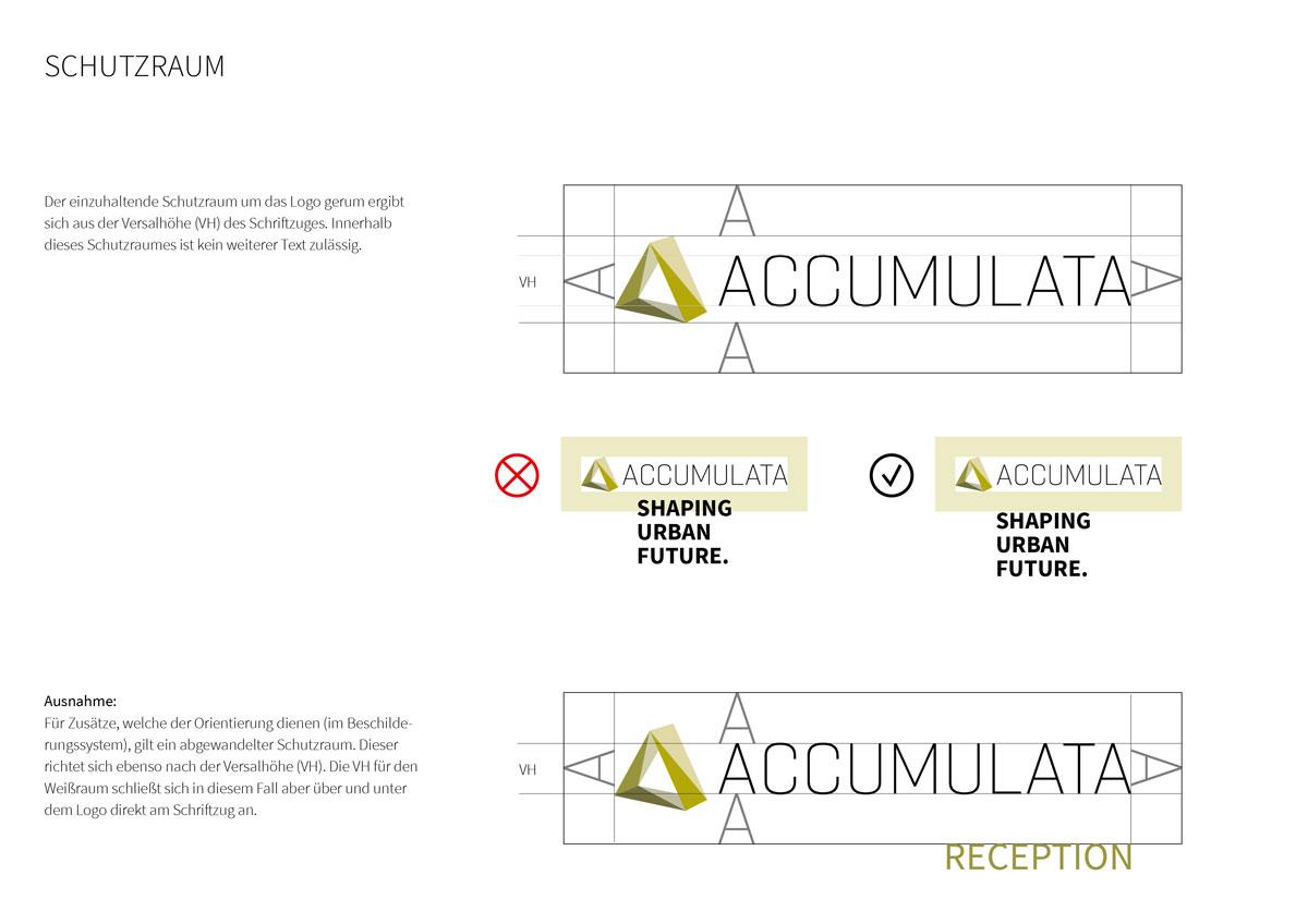 ACCUMULATA Styleguide mit Regeln zum Schutzraum um das Logo